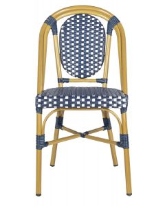 Set of 2 Navy and White Outdoor Rattan French Bistro Dining Side Chairs