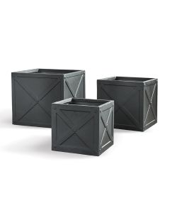 Set of Three Outdoor Garden X Boxes in Faux Lead