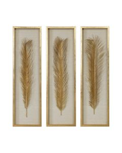 Set of 3 Gold Sago Palm Leaves with Linen Background in Shadow Box