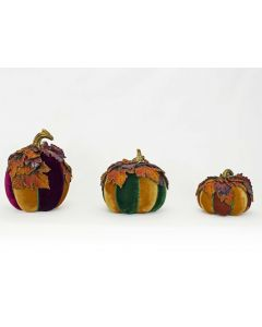 Set of 3 Paper Mache Pumpkins with Leaves