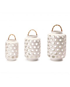 Set of 3 White Lattice Ceramic Lanterns With Bamboo Handles - ON BACKORDER UNTIL FEBRUARY 2021