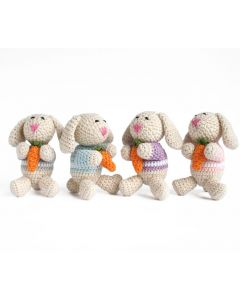 Set of 4 Crochet Bunnies in Sweaters Christmas Ornaments