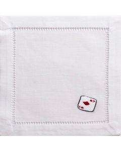 Set of 4 Playing Cards Embroidered Cocktail Napkins