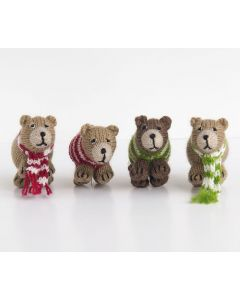 Set of 6 Crochet Bears Christmas Tree Ornaments