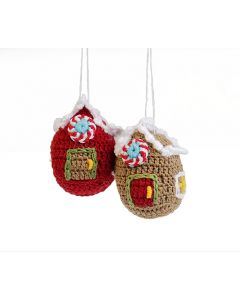 Set of 6 Crochet Ginger Bread House Christmas Tree Ornaments