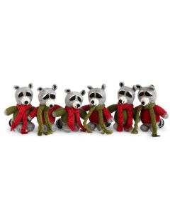 Set of 6 Crochet Raccoon Christmas Tree Ornaments