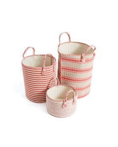 Set of Three Coral and Beige Natural Linen Baskets - LOW STOCK - CALL TO CONFIRM AVAILABILITY