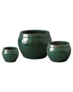 Set of Three Green Glazed Bowl Rimmed Garden Planters