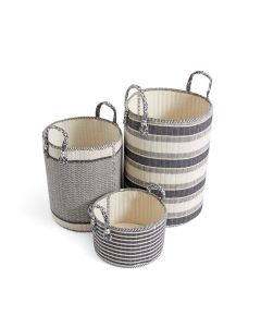 Set of Three Hardback Linen Storage Baskets