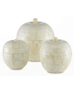 Set of Three Mango Wood Boxes Covered with Camel Bone Mosaic