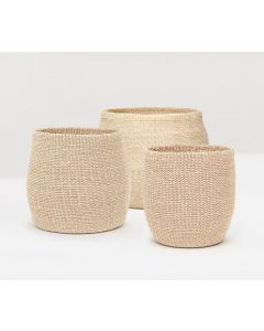Pigeon & Poodle Set of Three Davao Storage Baskets in Ivory