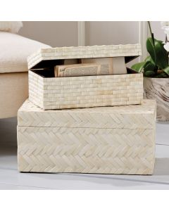 Set of Two Basketweave Bone Boxes