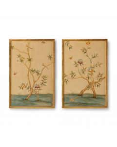 Set of Two Fretwork Chinoiserie Wall Panels With Gold Frame