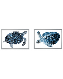 Set of Two Indigo Sea Turtle Wall Art