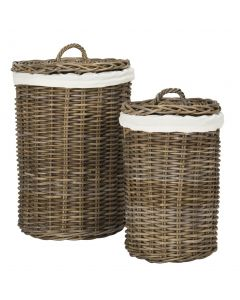 Set of Two Round Mahogany Laundry Baskets - OUT OF STOCK