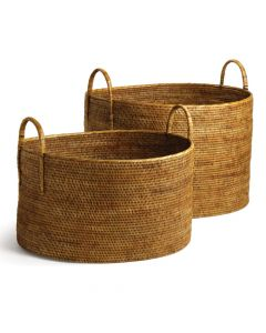 Set of Two Short Brown Rattan Open Hampers with Handles