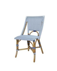 Set of Two White and Navy Blue Bistro Side Chairs