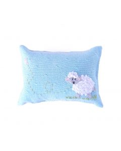 Blue and White Mini Sheep Design Baby Pillow - ON BACKORDER UNTIL JANUARY 2021