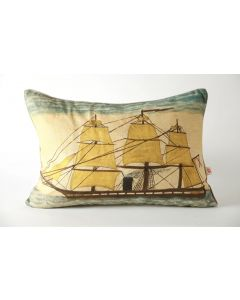 Ship At Sea Linen Pillow