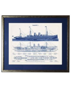 Ship Blueprint Framed Wall Art - Available in Three Different Sizes