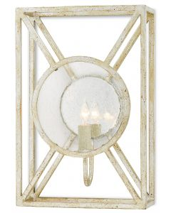 One Light Mirrored Glass Wall Sconce in Silver Granello Finish