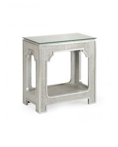 Silver Raffia Cutout Side Table With Glass Top - OUT OF STOCK