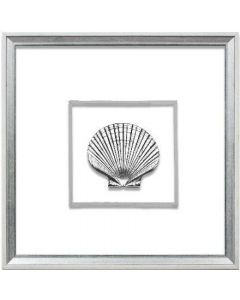 Silver Scallop Shell Artwork Suspended between Glass in White & Silver Frame