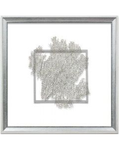 Silver Sea Fan Suspended between Glass in Hand-Distressed White and Silver Frame - 18 Inches x 18 Inches