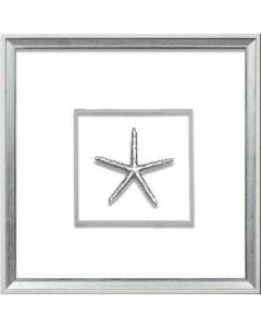 Silver Small Starfish Coastal Beach Wall Art in White & Silver Frame