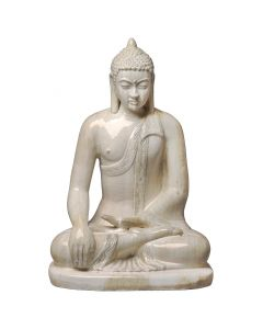 Sitting Buddha Statue in Glossy Distressed White Finish - CALL TO CONFIRM AVAILABILITY