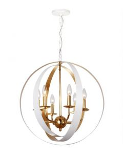 Six Light White and Gold Sphere Large Chandelier