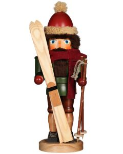 Skier in Winter Ski Gear Traditional German Nutcracker Christmas Decoration