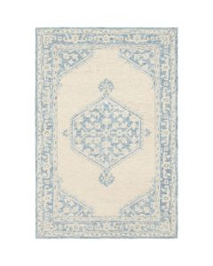 Rachel Sky Blue and Beige Floral Pattern Area Rug - Available in a Variety of Sizes