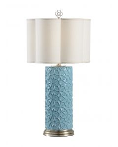 Sky Blue Glaze Porcelain Table Lamp With Linen Shade