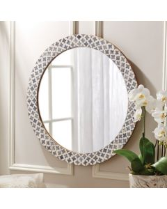Slate Quatrefoil Bone Round Wall Mirror - ON BACKORDER UNTIL EARLY AUGUST 2020