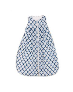 White & Blue Diamond Block Print Cotton Sleep Sack for Babies