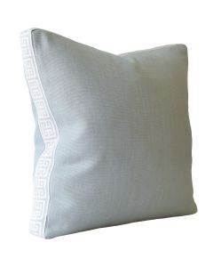 Slubby Linen Harbor Square Decorative Pillow with Meandros Platinum Tape – Available in Two Sizes
