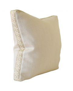 Slubby Linen Mushroom Square Decorative Pillow with Greek Key Ivory/Beige Tape – Available in Two Sizes