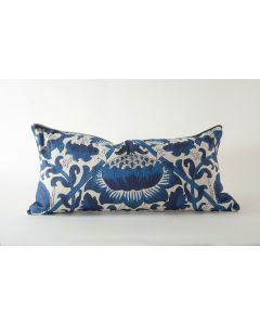 Blue & White Botanical Watermark Pattern Small Natural Linen Lumbar Pillow