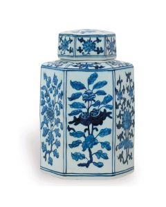 Small Blue and White Porcelain Floral Tea Jar