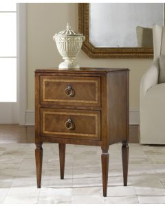 Modern History Small Two Drawer Commode in Walnut with Inlay - CALL TO CONFIRM AVAILABILITY