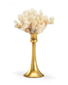 Small Light Blush Natural Coral with Antique Gold Stand - LOW STOCK