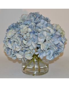 Soft Blue Hydrangea Faux Florals in a Glass Vase
