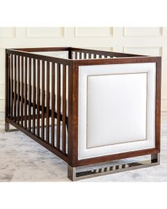 Soho Crib in Cream and French Walnut With Nailhead Trim