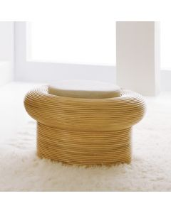 Somerset Bay Hand Carved Rattan Riviera Stool with Natural Linen Cushion