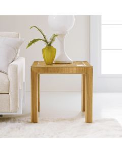 Somerset Bay Riviera Hand Carved Rattan End Table with Brass Accents