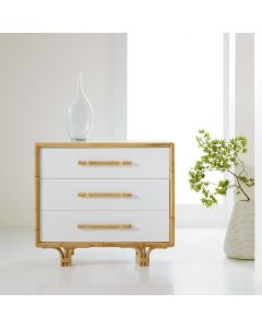 Somerset Bay Three Drawer Bedside Chest with Bamboo Accents
