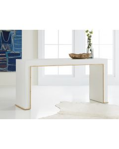 Somerset Bay White Painted Console Table with Bamboo Accents