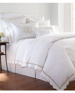 Scalloped Tape Trim Bedding Collection With Optional Monogram - Available in a Variety of Colors