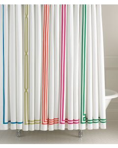 Tape Trimmed Shower Curtains - Available in a Variety of Colors and Designs